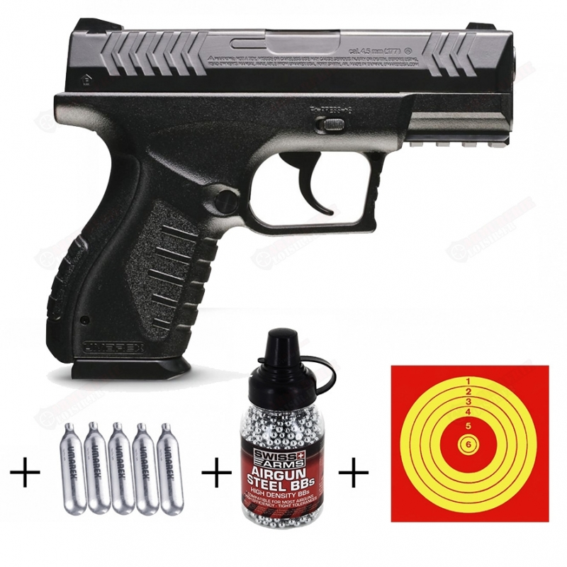 Kit Pistolet XBG Umarex (3 Joules) + CO2 + plombs + cibles