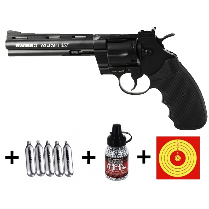 Kit revolver Swiss Arms.357 + CO2 + 1500 plombs BBS + 100 cibles