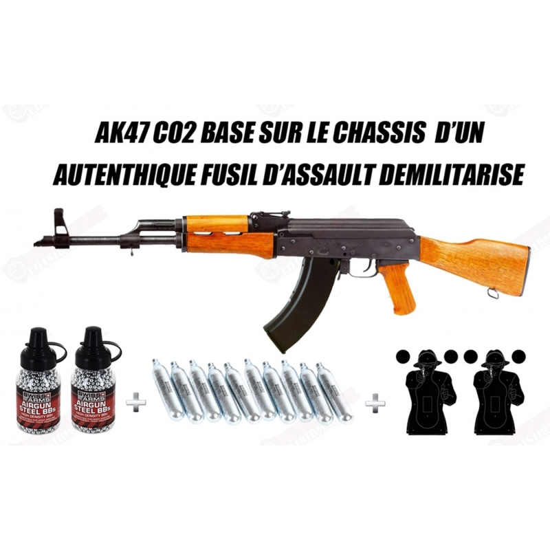 Pack AK47 CO2 Kalashnikov Authentique 4.5 mm BB Cybergun