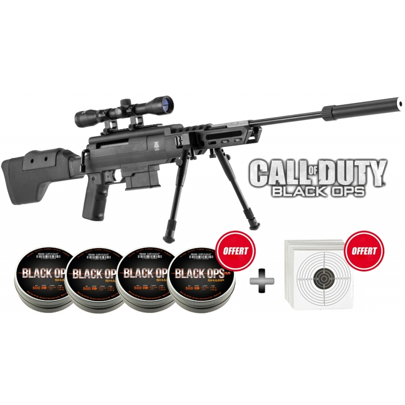 Pack Carabine Black Ops Sniper Tactical 45mm 20 Joules Armurerie
