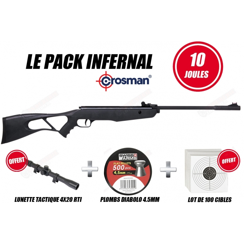 Pack carabine Crosman INFERNO 4,5mm (10 Joules)