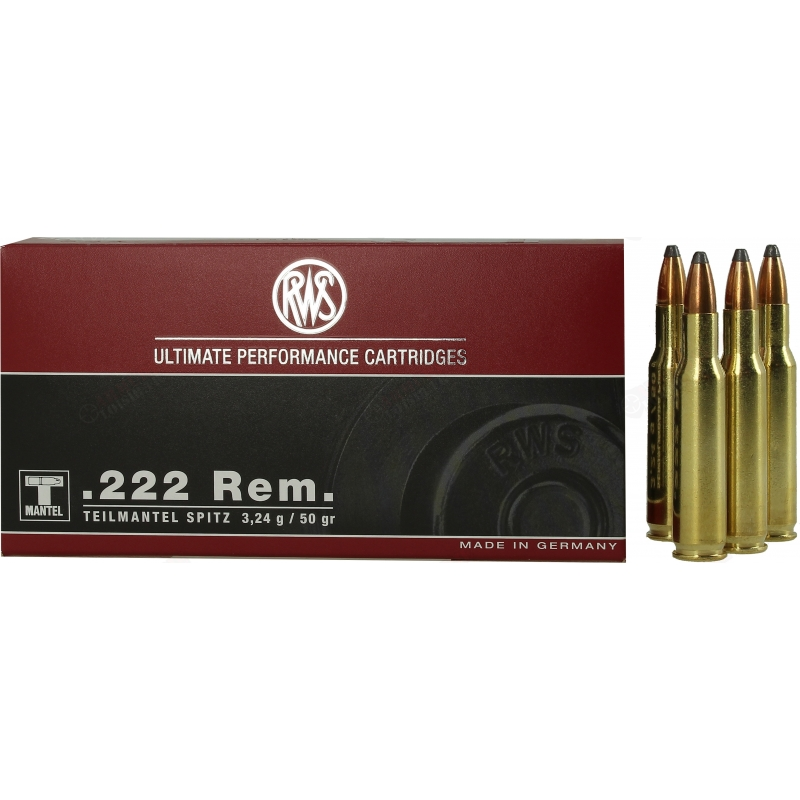 Cartouches RWS ultimate performance cartridges .222 rem (1524 joules)