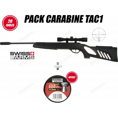 Pack carabine Swiss Arms Tac-1 4.5 mm (20 joules)