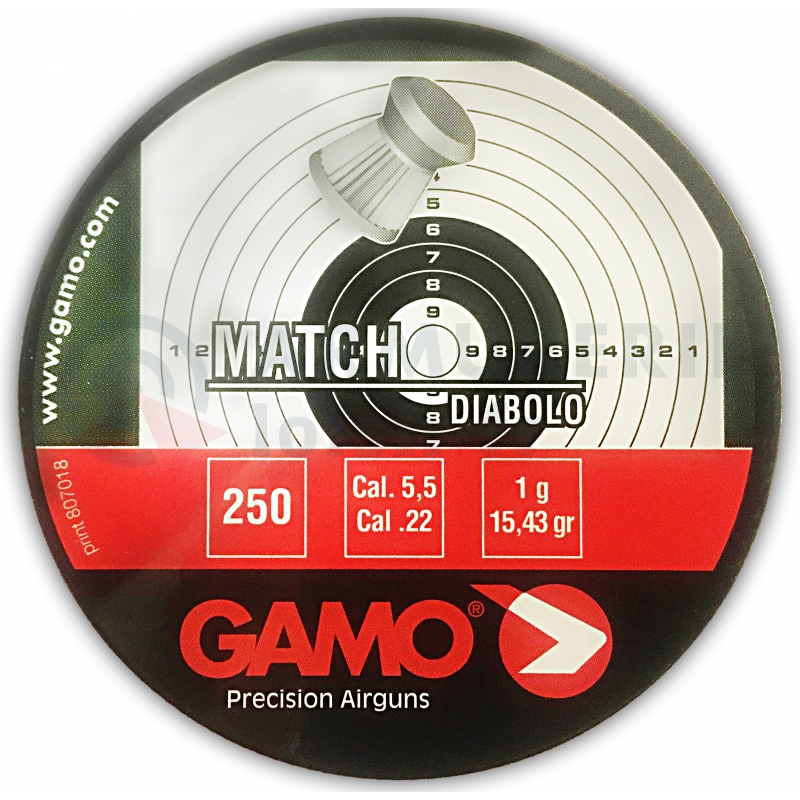 250 Plombs GAMO Match diabolos plâts 5.5mm 15.43gr