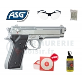 Pack ASG Beretta M92 FS - 6mm BB Chromé (0.4 joule)