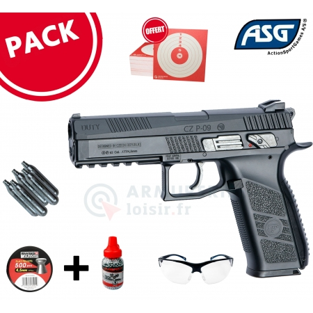 Pack CZ P-09 CO2 mixte BBs et diabolo 4.5mm (3,7...
