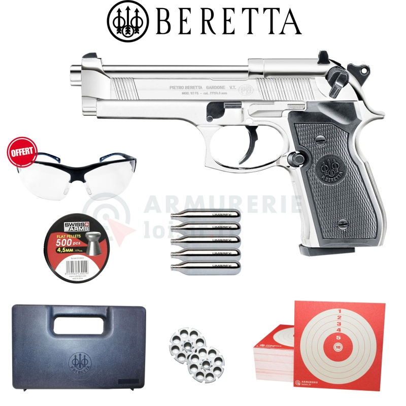 Beretta 92FS chromé CO2 plombs diabolo 4.5mm (3,5 joules)