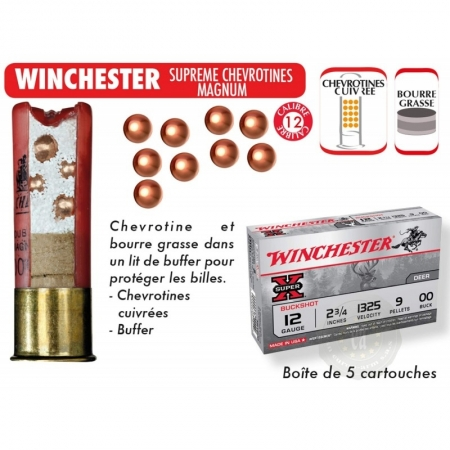 5 cartouches Winchester Super X Calibre 12-70