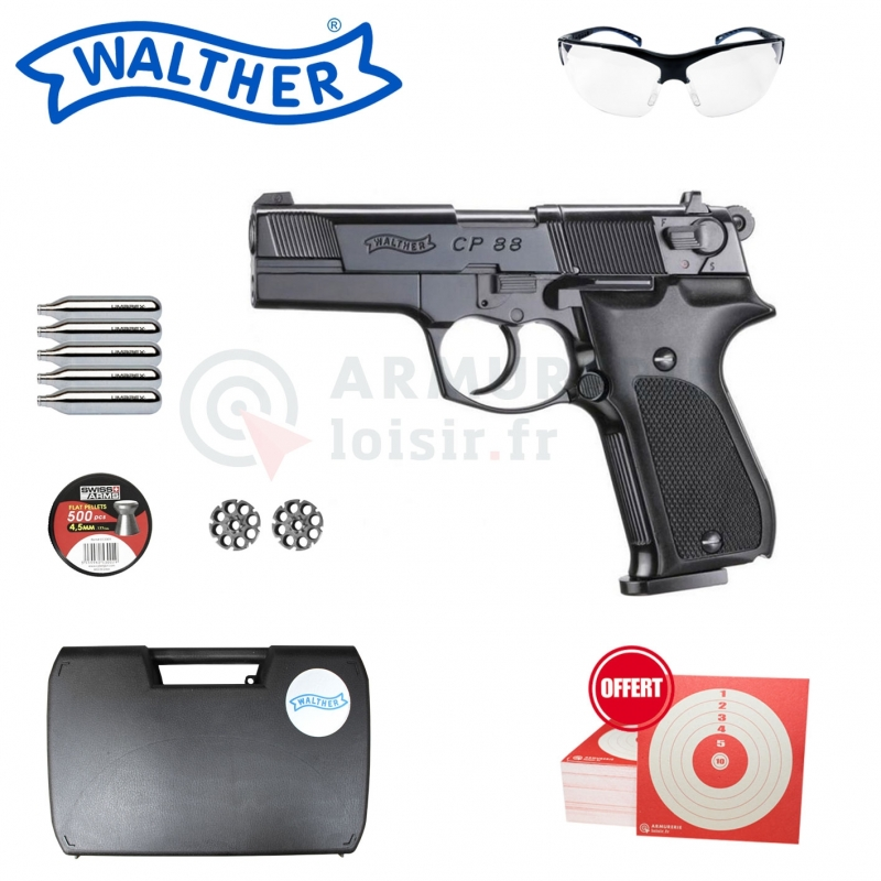 Pistolet à plomb Walther CP88 4,5mm (3,5 Joules)