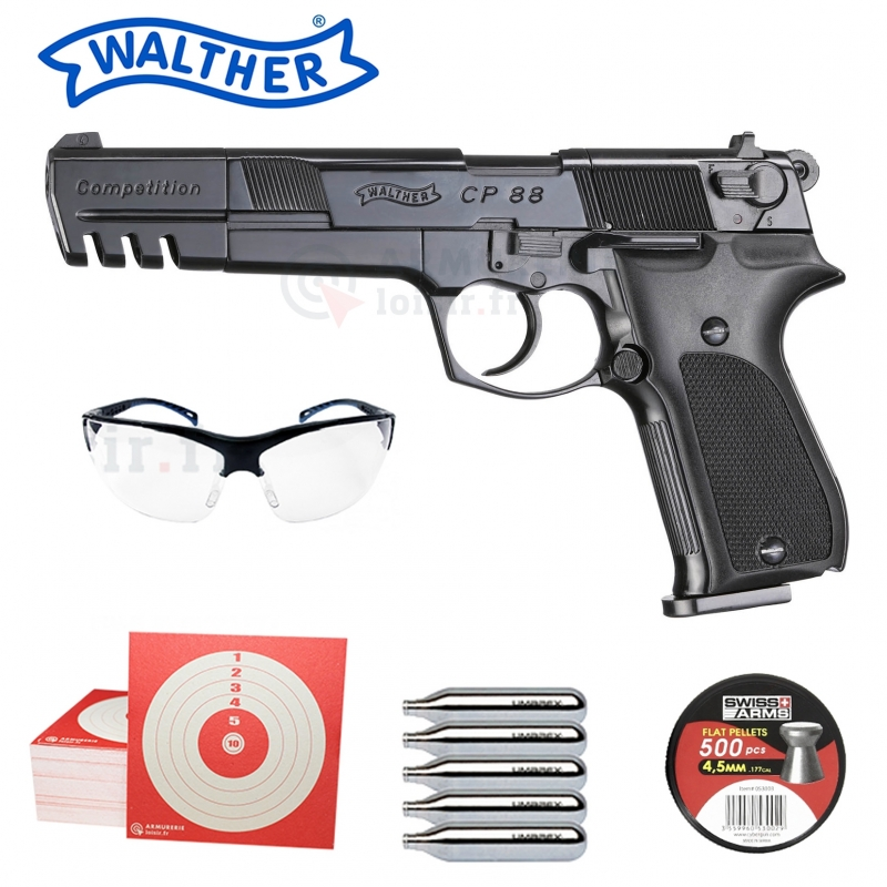 Pack Walther CP88 Compétition 4.5mm (3.5 joules)
