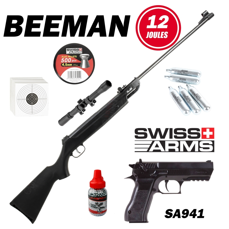 Pack Carabine Beeman 12 joules 4.5mm + Swiss Arms SA941