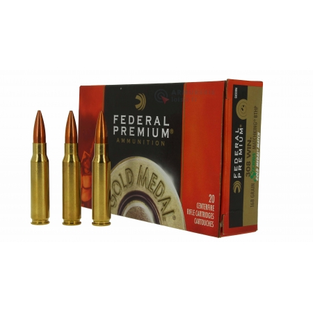 20 munitions Federal Gold Medal 168 gr. 308win  -...