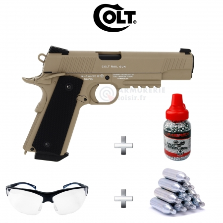 Pack Umarex Colt M45 CQBP CO2 Tan 4.5 (1.9 Joules)