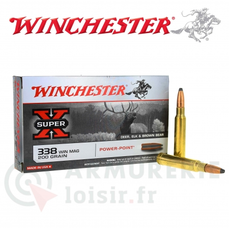 20 Cartouches Winchester Super-X cal .338 Win Mag
