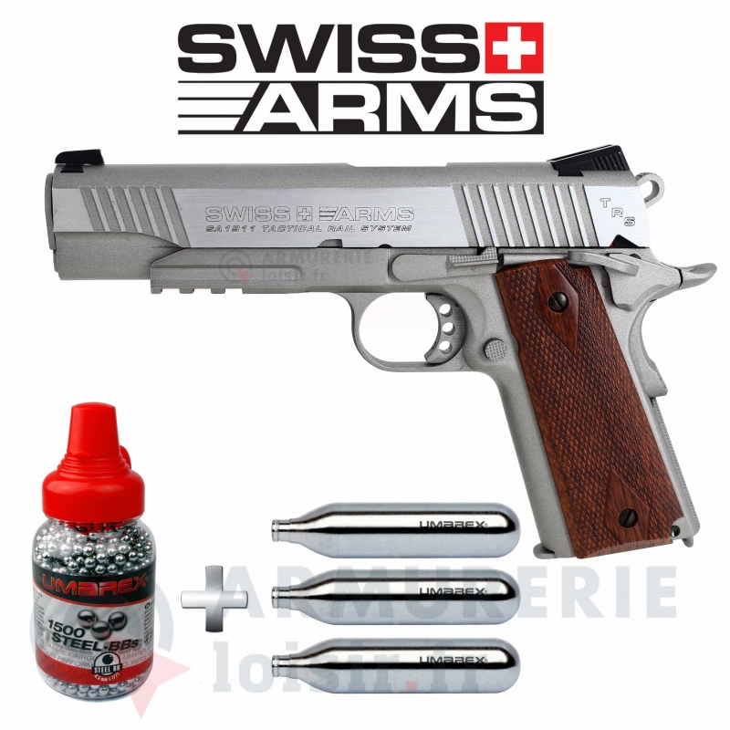 Pack Swiss Arms SA 1911 CO2 4.5 mm BB'S 1.6 joules