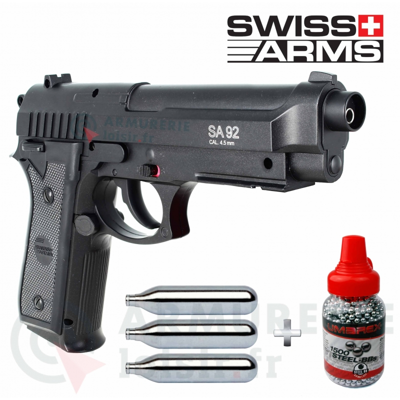 Pack Swiss Arms SA P92 4.5 mm BB'S (2,11 joules) type Beretta
