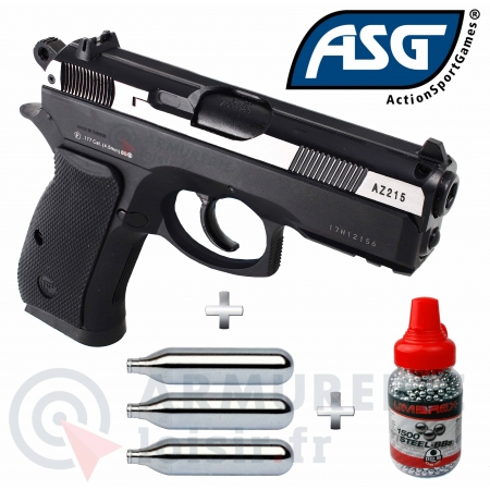 Pack pistolet ASG CZ 75 D Compact 4.5mm BB'S...