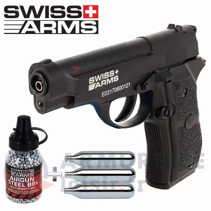 Pack Swiss Arms P84 CO2 4.5 mm BB'S 2 joules