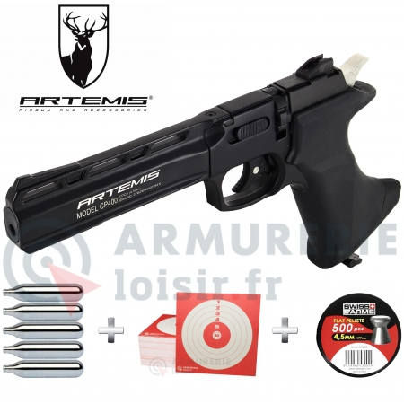 Pack pistolet Artemis CP400 CO2 4.5mm (3.5Joules)