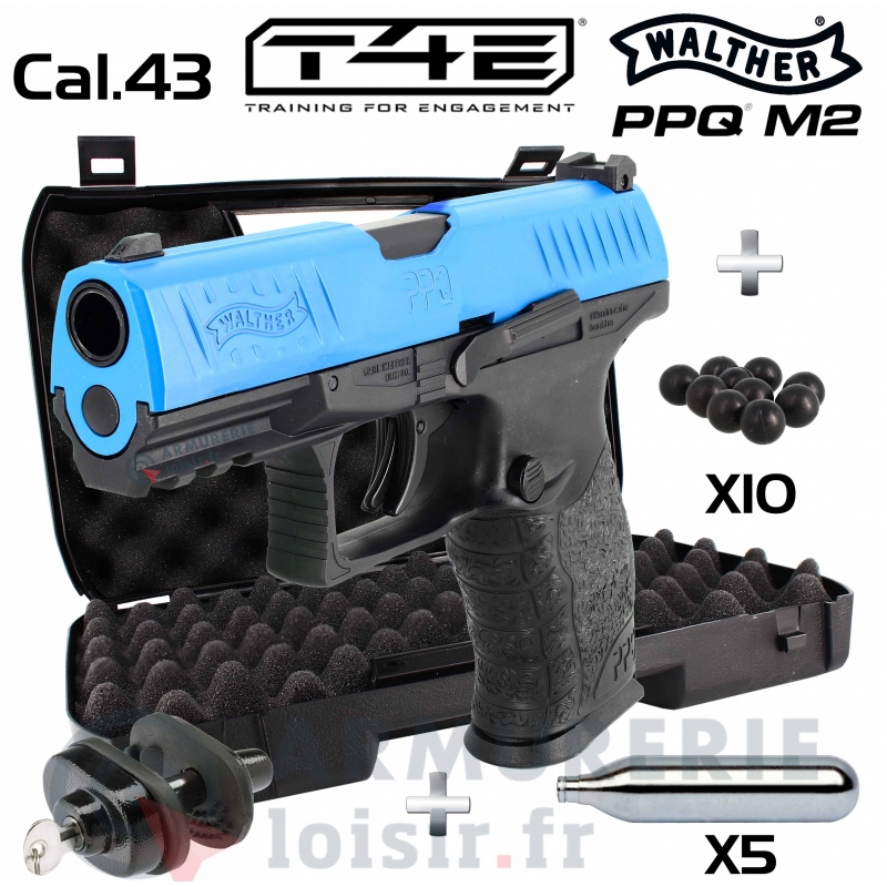 Pack Walther PPQ M2 T4E Bleu CO2 Cal. 43 (5 Joules)