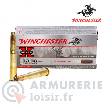 Cartouches Winchester SUPER X Power Point Cal 30-30...