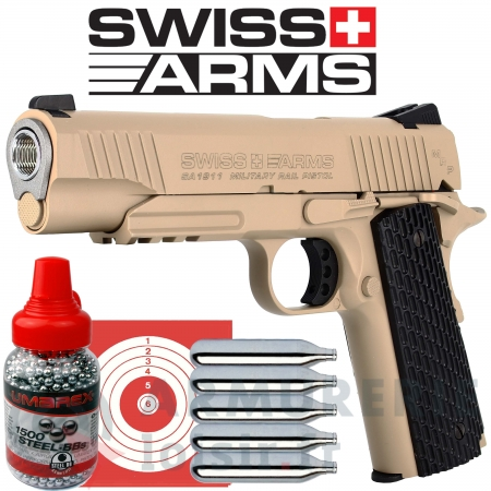 Pistolet Swiss Arms COLT SA1911 Military TAN CO2...