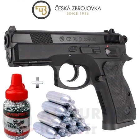 Pack Pistolet ASG CZ 75D Co2 12G cal.4.5 BB's...