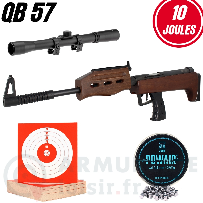 Pack Carabine BRAND QB 57 Deluxe (10 j) +lunette +plombs