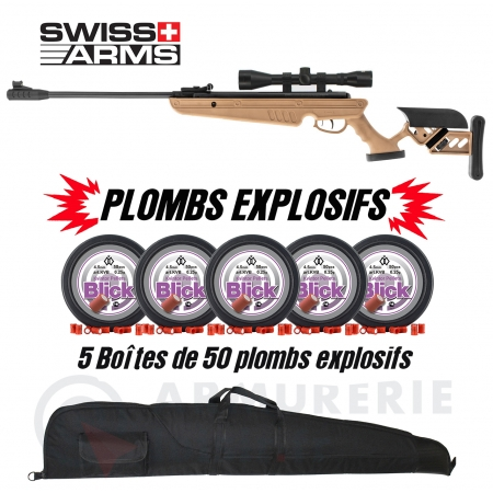 Pack EXPLOSIF Swiss Arms TG-1 TAN - 4x40 (20 Joules)